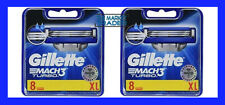 Gillette Mach3 Turbo Razor Blades 2 x 8 = 16 Blades 100% Genuine FAST FREE POST
