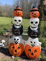 Vintage Empire Blow Mold  Halloween Totem Poles(2)Black Cat,Ghost,Skull, Lighted