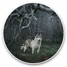 2 x Vinyl Stickers 7.5cm - Enchanted Forest Siberian Husky Dog  #44962