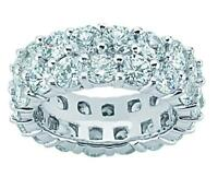 4.15 ct Ladies Two Row Round Cut Diamond Eternity Wedding Band Ring Auction 14k