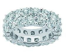 4.15 ct Ladies Two Row Round Cut Diamond Eternity Wedding Band Ring In Platinum