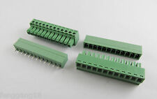 New 12 Pin/Way Pitch 3.81mm Screw Terminal Block Connector Green Pluggable Type