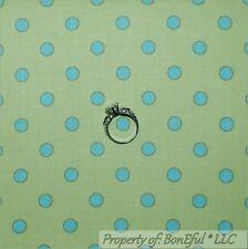 BonEful Fabric FQ Cotton Quilt Green Aqua Blue Baby Boy Nursery Polka Dot Stripe