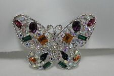 """Broach Pin 2 1/2"""" Across #4863) Silver Tone Rhinestone Butterfly Brooch"""