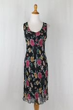 Anthropologie LAPIS 1920's 30's Inspired Below the Knee Floral Silk Dress Sz M