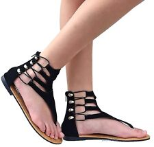 New Women AS1 Black Taupe Gladiator Strappy Thong Flat Sandals size 6 to 10