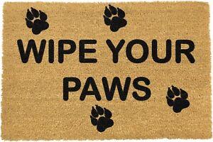 Cute Bold Wipe Your Paws Image Natural Coir Non Slip PVC Indoor Outdoor Doormat