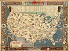 1931+Folklore+Music+Map+of+the+United+States+Wall+Art+Poster+11x15+History+Print