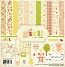 Carta Bella IT'S A GIRL 12x12 Scrapbook Kit Papers + Stickers Baby Pink