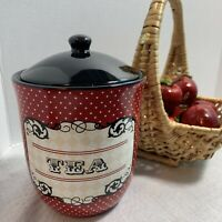 """Certified International 7"""" Stylish Tea Canister, Red With Polka Dots Black Lid"""