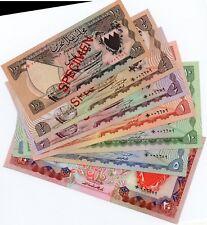 1964 SPECIMEN BAHRAIN BANKNOTES 100 FILS,1/4,1/2,1,5,10,20 DINARS SAME SERIAL NO