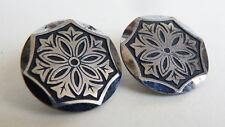 2 bouton ancien en acier niellé 19e siècle button