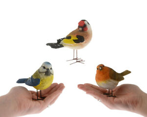 Small Bird Ornaments Robin Blue Tit Goldfinch Set of 3 - Ideal Father's Day Gift