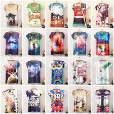 Mujer Verano manga corta blusa top vintage estampada Camiseta informal
