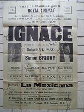 Ancienne Affiche - Royal Cinéma Braine-le-Comte - Opérette IGNACE - 16/11/1944