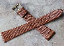 Warm brown unstitched unpadded Genuine Lizard 19mm vintage watch strap 1960s Nos