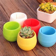 Mini Desktop Round Plastic Plant Flower Pot Garden Home Office Decor Planter Hot