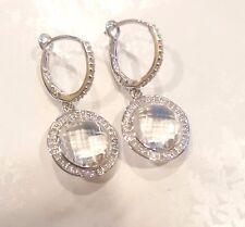 Diamond & Quartz Dangling Earrings in 14KT White Gold 0.50 ctw