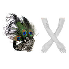 1920s' Gatsby Accessories Set Peacock Headband Sliver Glove  for Party Halloween