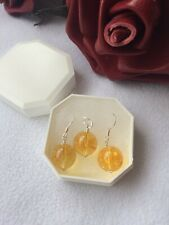 Citrine 925 Sterling Silver Healing Pendant & earrings Stocking Filler gift set