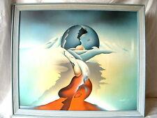 Original Kubistisches Fantasy Gemälde sign jaffary Öl auf leinwand
