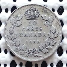 1930 Canada Silver Ten Cent Coin ♚ King George V ♚ Nice Old Collectable Dime