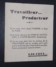 POLITIQUE 1935 TRACT ADHESION UNION CORPORATIVE DES TRAVAILLEURS DE FRANCE