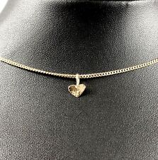 Solid 9ct 9k Yellow Gold Mini Hammered Heart Pendant Engravable Polished Finish