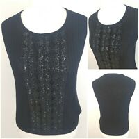 "Jaeger Womens Black Vest Top Lace Effect Sequins Merino Wool Xmas 34"" Bust."