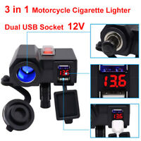 Waterproof Dual USB Charger Motorcycle Cigarette Lighter Power Socket Voltmeter