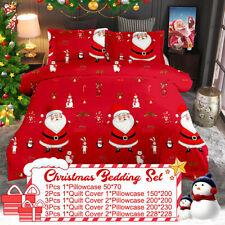 Winter Christmas Print Duvet Quilt Cover Bedding Set + Pillowcases King Size