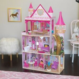 Large 133cm Wooden Doll House Girls Toy Pretend Play Dollhouse Barbie House
