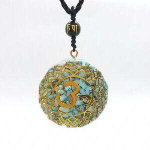 Blue Turquoise Ohm Necklace Orgone Pendant Sacred Geometry Orgonite Healing UK