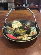 Wine Label And Liquor Bottle Label Folk Art Basket Vintage