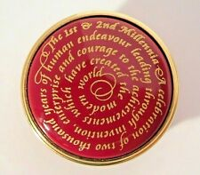 Halcyon Days Maroon Red/ 24K Gold Enamel Box The First & Second Millennia Ltd Ed