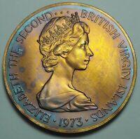 1973 BRITISH VIRGIN ISLANDS 50 CENTS BU UNC COLOR TONED COIN