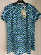 BODEN CAREY TOP SILK MIX RICH EMERALD DECO FANS. UK 12, EUR 38-40, US 8. BNWT