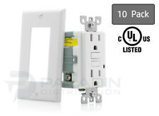 15A Amp GFCI Receptacle Outlet w/ LED & Wall Plate - UL Listed, White (10 Pack)