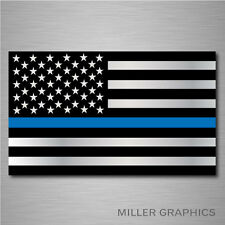 "Police Officer Thin Blue Line American Flag decal sticker graphic - 3"" x 5"""