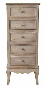 Loire French Grey Solid Mango Wood Tall Chest of Drawers / 5 Drawer Tall Chest