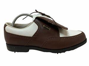 FootJoy FJ DryJoys White Brown Saddle Kiltie Oxford Golf Shoes Womens 9.5 99133