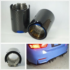 2 X Glossy&Grilled Blue Real Carbon Fiber 70mm Car Exhaust Pipe Modified Muffler