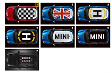 51140434969 Decorazione tetto Checkered Flag, col. nero -ORIGINALE- MINI R55