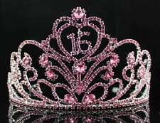SWEET SIXTEEN 16 BIRTHDAY PARTY RHINESTONE TIARA CROWN W/ HAIR COMBS T1863P PINK