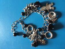 silver Gingerbread man charm  bracelet pig cow fox