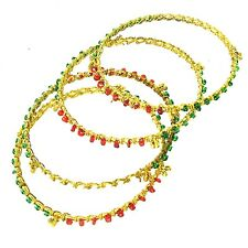 Gold Tone Bangle Bracelets w/ Red White & Green Beads - Set of 4 - Made in India