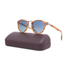 Persol PO3108S Typewriter Sunglasses 960/S3 Striped Brown / Polarized Blue 3108