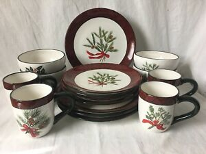 Home Accents Holiday Greens 16 Pc Set Christmas Dishes David Carter Brown