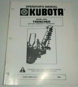 Kubota 5520 Trencher Operators & Parts Manual Catalog B7200-B9200 B1550-B2150