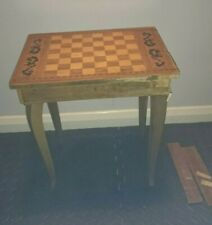 More details for restoration project vintage ornate small wooden musical chess table upcycle